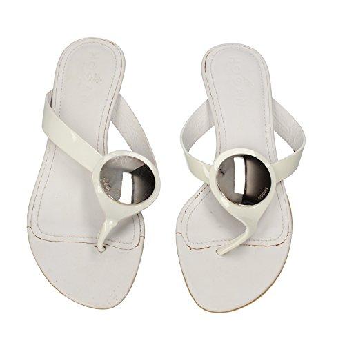 HOGAN sandali donna 35 EU bianco vernice DZ127