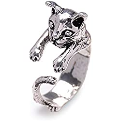 ClothingLoves Dog Resizable Open-end Wrap Cling Ring Silver