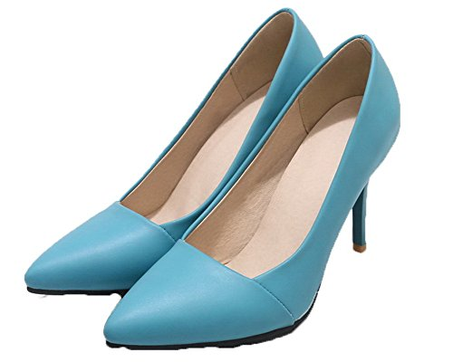 flats Donna Solid Tacco Alto Gmmdb006803 Tirare Agoolar Luccichio Ballet Azzurro 0Iqwd