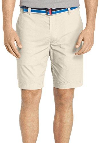 IZOD- Flat Front Solid Lightweight Poplin Shorts Stone Size 38