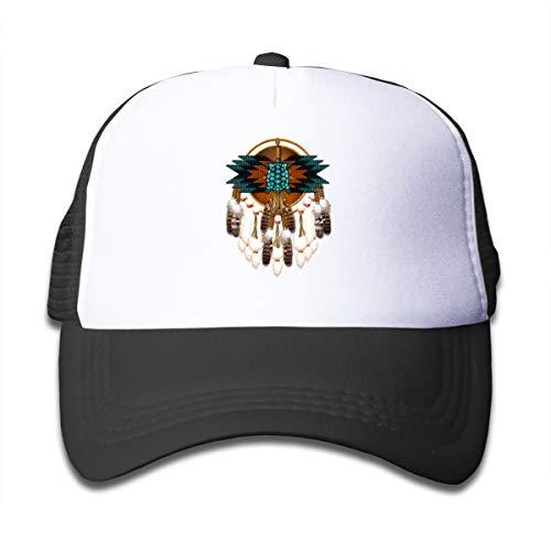 (Native American Feather 3 Boy and Girls Mesh Baseball Cap Truckers Hats Black)