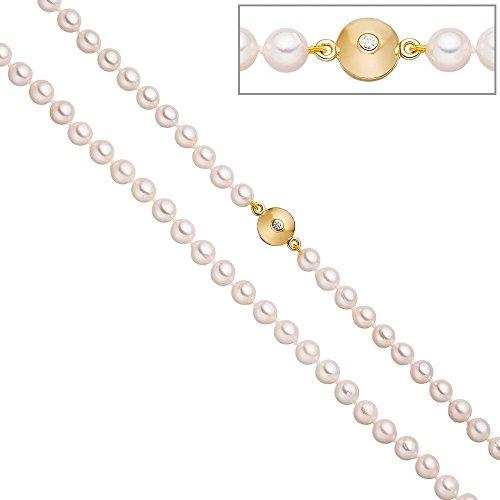 Jobo Collier de perles de perles de Akoya 45cm Schließe Argent 925plaqué or 2zirconium