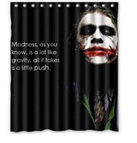 Custom Joker Pattern Waterproof Bathroom Shower Curtain 100% Polyester Fabric Shower Curtain Standard Size 60 x -