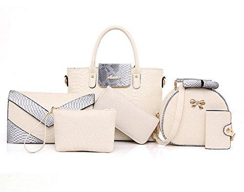 VVeda 2016 Summer New Fashion Portable Shoulder Messenger Bag 6 Pieces(Cream)