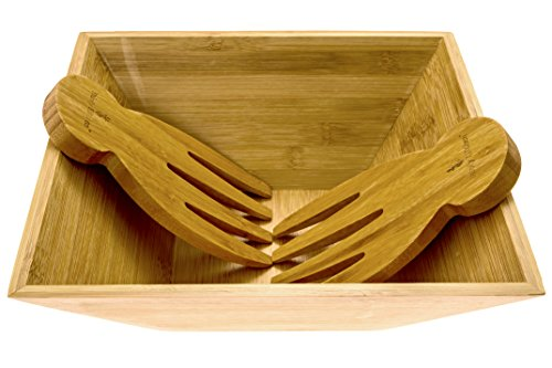 Bamboo Salad Bowl with Serving Hands; Large Eco-Friendly Bamboo Square Bowl with Matching Tosser/Server Claws; Stylish Design which Looks Great On Your Kitchen, By Falofy Kitchen ()
