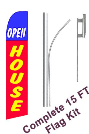 "NEOPlex - ""Open House"" Complete Flag Kit - Includes 12' Swooper Feather Business Flag With 15-foot Anodized Aluminum Flagpole AND Ground Spike"