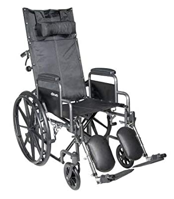 "McKesson Reclining Wheelchair & Detachable Desk Arms - 18"" Seat Width, 300 Lbs. Capacity - 1 Each/ - 18324201"