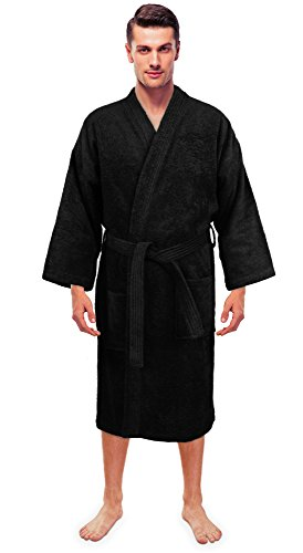 (Turkuoise Men's Terry Cloth Robe Turkish Cotton Terry Kimono Collar)