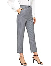 SOLY HUX Pantalones de Mujer a Cuadros con Botones, Pantalones Cortados