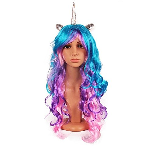 Oexper Unicorn Pony Cosplay Wig Rainbow Wig with Ears Ponytail Long Curly Hair for Kids, Girls, Teens and Women Costumes Party Hair Accessories (Silver Horn) by Oexper