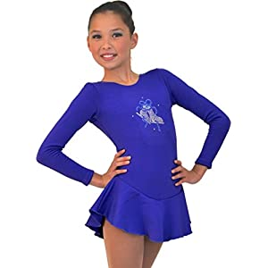 ChloeNoel DLF38 Long Sleeve Fleece Figure Skating Dress with Crystals