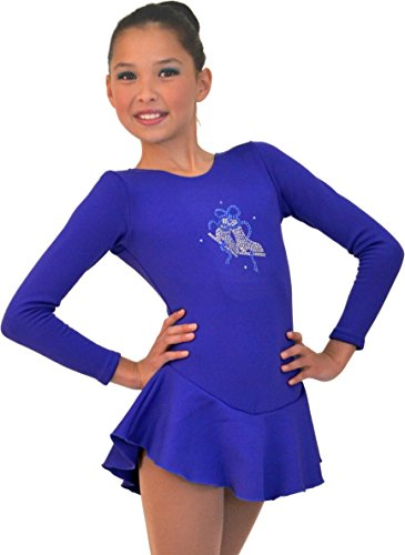 Chloe Noel Figure Skating Long Sleeve Fleece Dress with Crystals DLF38