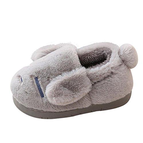 Igemy Nettes Kleinkind Baby Jungen Mädchen Plüsch Soft Sohle Anti-Rutsch Warm Samt Schuhe 1 Paar Grau