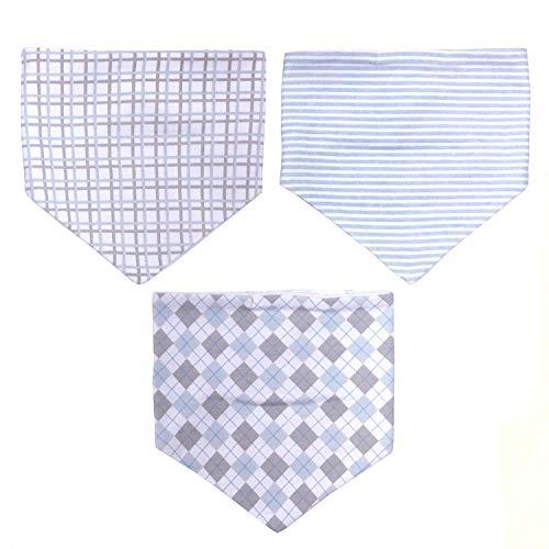 Koala Baby Newborn Cotton Bandana Bib Set - Boy - Blue/Grey/White - 3 Pack Absorbent Drooling & Teething Velcro Bib Set