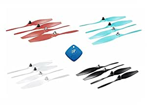 Ehang GHOSTDRONE 2.0 Self-Tightening Propellers Bundle, 2-Bladed 8.5 - 4 Sets of 4, 16 Total Props - Red, Blue, White, Black - Bonus P7-FindIt Bluetooth Beacon So You Never Lose Your Drone