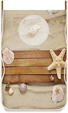 LZXO Wäschesammler zum Aufhängen an der Tür, Holz, Seestern, faltbar, platzsparend, Kleiderschrank, Organizer multi, 1Pack