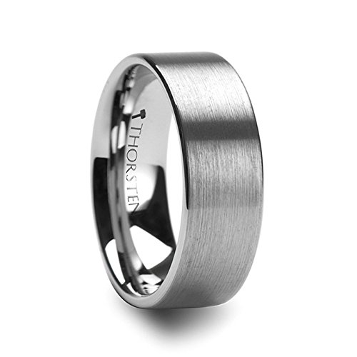 (Thorsten Mercury | Tungsten Rings for Men | Tungsten | Comfort Fit | Wedding Ring Band with a Flat Brush Finish - 8mm)