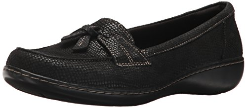 (CLARKS Women's Ashland Bubble Loafer, Black Interest, 6.5 M US)
