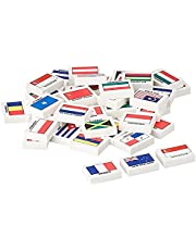 MTRADE Country Flag Erasers (48 Pieces), White