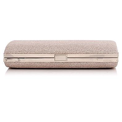 Guozi Womens Glitter Covered Fabric Hard Case Fashion Handbag Cross-Body Evening Bag Clutch Purse