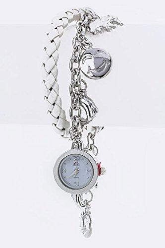 Karmas Canvas Locket Mix Charm & Leather Toggle Bracelet Watch (White) Charm Locket Toggle Bracelet