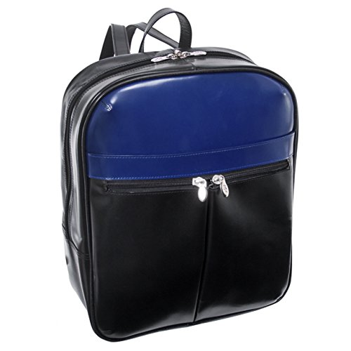 "Price comparison product image Mcklein USA 88137 Edison 14"" Leather Laptop Slim Backpack,  Black / Navy"