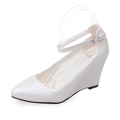 Amoonyfashion Womens Spits Gesloten Teen Gesp Pu Effen Hoge Hakken Pumps-schoenen Wit