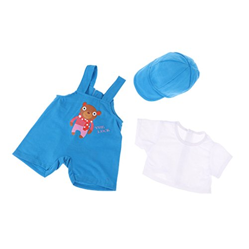 Baoblaze Fashion Doll Clothing Three-piece Suit Short Sleeves Tops Suspender Pants Cap for 18''American Doll Accessories Blue