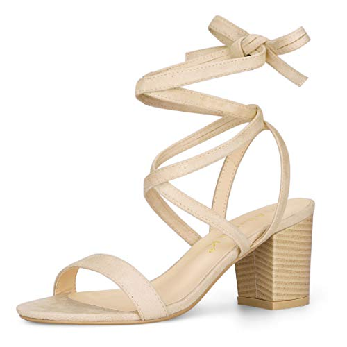 - Allegra K Women's Mid Heel Lace Up Beige Sandals - 8 M US