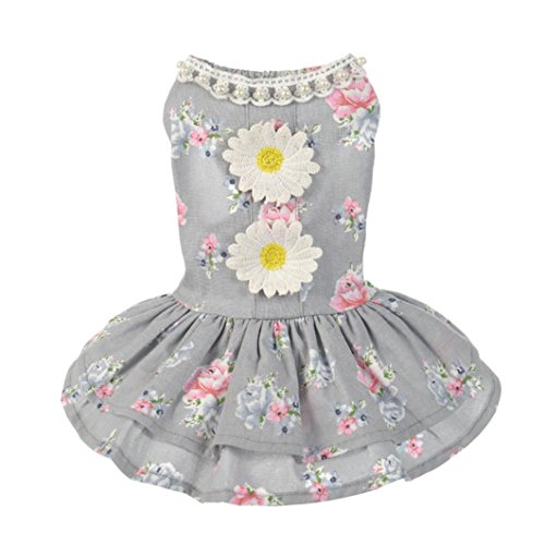[Makalon Dog Cat Dress Lace Pet Princess Apparel (M, Gray)] (4xl Santa Costume Uk)