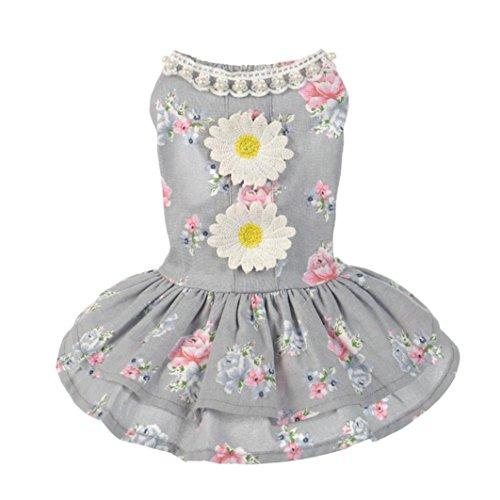 Makalon Dog Cat Dress Lace Pet Princess Apparel (L, - Boss Uk Sale