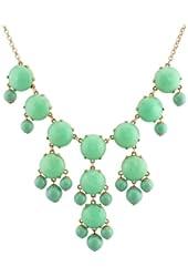 Color Bubble BIB Statement Fashion Necklace - Mint Green