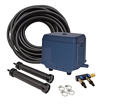 EASYPRO STRATUS KLC KOI POND AERATION KIT with Compressor, 2 Diffusers, Quick Sink Tubing and Cord for 2000 to 15000 Gallon Water Feature, Circulates and De-Ices Quietly, Energy Efficient, Fish Safe
