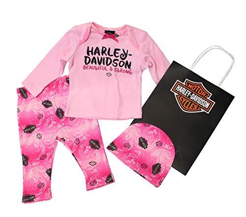 - Harley-Davidson Girls Baby B&S Glitter Print 3pc with Gift Bag Pink Hanging Gift Set