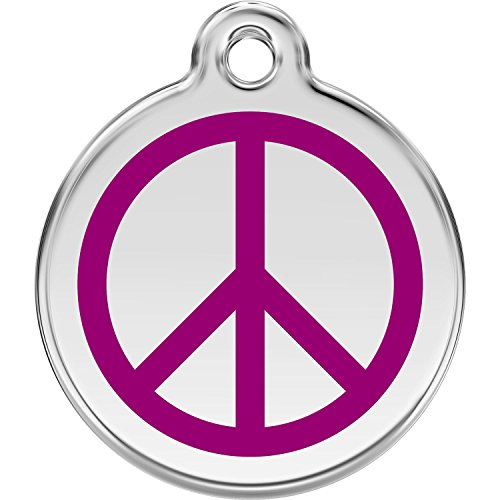 Red Dingo Personalized Peace Pet ID Dog Tag (Large Purple)