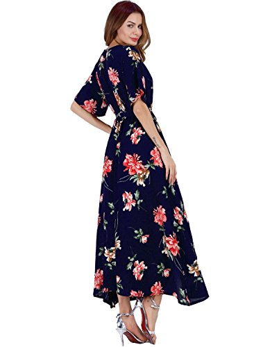 Boho HELYO Sexy Party for Summer Maxi Long Blue Sleeve Floral 193 Beach Print Short Women's Dress zwOqrnAz1
