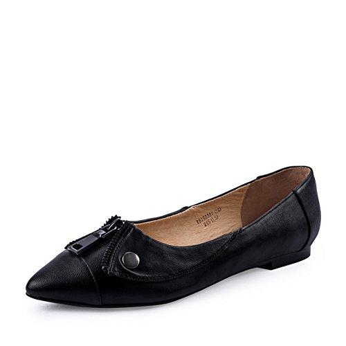 Zapatos de las señoras de primavera/Casuales zapatos con cremallera/Puro color/baja zapatos de tacón B