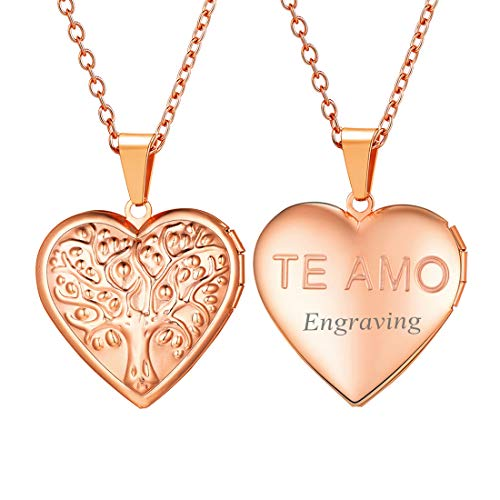 U7 Customized Rose Gold Necklace That Hold Picture France TE AMO I Love You Heart Photo Locket Necklace for Women Girls