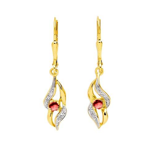 Boucles d'oreilles pendantes - Or jaune 9 cts - Rubis - 293035.R3