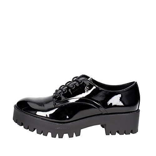 ARMANI JEANS Women's Chunky Patent Lace-Up Oxford, Nero 36 M EU (6 US) (Armani Oxford Women)