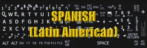 SPANISH LATIN AMERICAN LARGE UPPER CASE NON-TRANSPARENT STICKER FOR KEYBOARD ON BLACK BACKGROUND