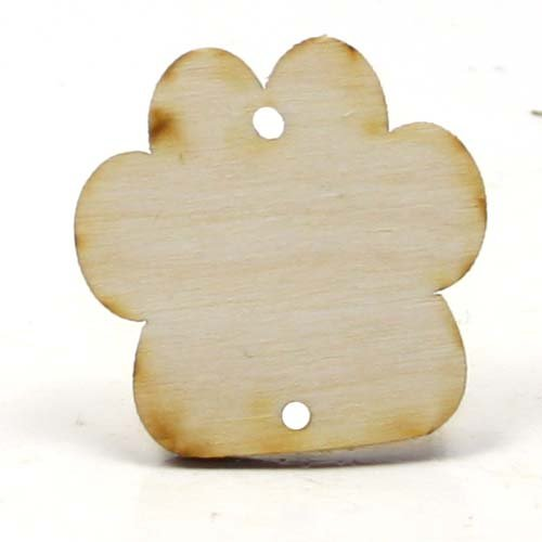Mylittlewoodshop - Pkg of 6 - Paw Print Birthday Board - 1-1/2 inches by 1-1/2 inches with 2 2mm holes and 1/8 inch thick unfinished wood(LC-PAWS02-6) - Wood Print Craft