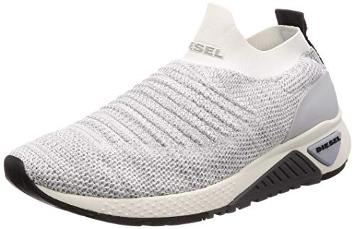 Diesel Men's SKB S-KB ATHL Sock-Sneakers, White/Grey Melange, 8.5 M US
