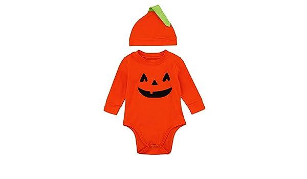 POLP niño-Halloween Bebe Invierno Disfraz Halloween Bebe Calabaza Disfraces de Disfraces de Halloween para niños Bebés Infantiles Niñas Calabaza de Halloween Manga Larga Mameluco Mono+Hat 2pcs: Amazon.es: Ropa y accesorios
