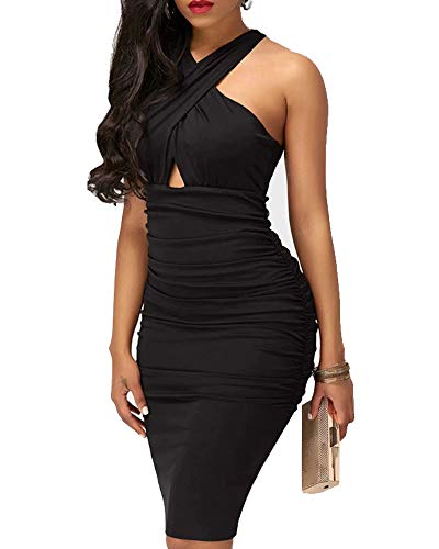 IyMoo Club Sexy Dresses for Women - Sexy Club Outfits for Women Elegant Crisscross V Neck Sleeveless Midi Club Dresses Black
