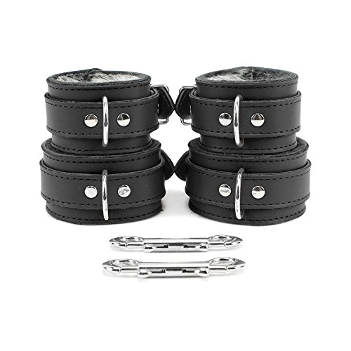 Brussels Wrist and Ankle Cuffs Softest Lambskin Leather (Royal Black, Wrist)