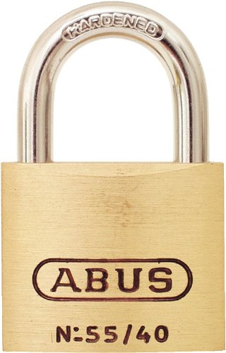Abus Brass Padlock - ABUS 55/40 Solid Brass Padlock Keyed Different - Hardened Steel Shackle