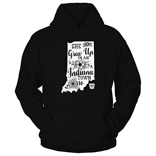 FanPrint Butler Bulldogs Hoodie - She Grew Up in an Indiana Town - Hoodie/Black/L