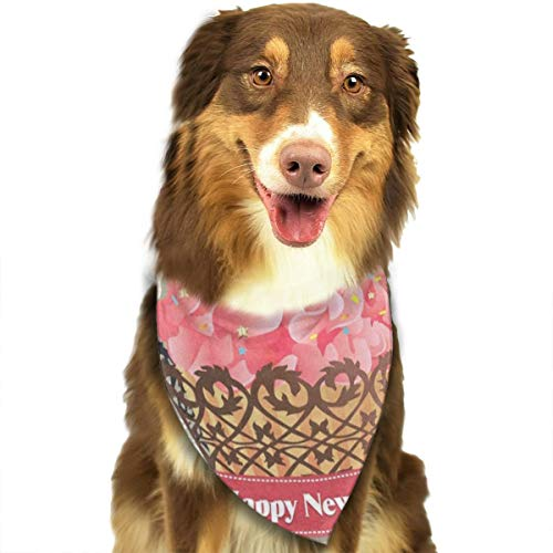 HJudge Dog Bandana Christmas Birds Holly Leafs Cupcake Dog Scarf Custom Personalized Cat Triangle Bibs ()