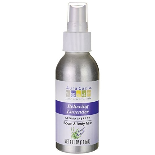 Aura Cacia Relaxing Lavender Aromatherapy Room & Body Mist 4 Oz Food, Silver, 4 Fl ()